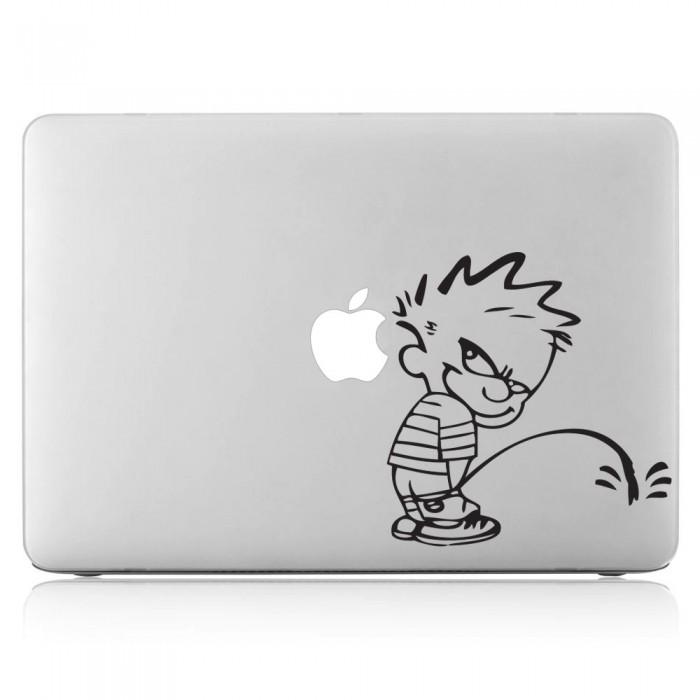 Calvin and Hobbes Peeing Laptop / Macbook Vinyl Decal Sticker (DM-0106)