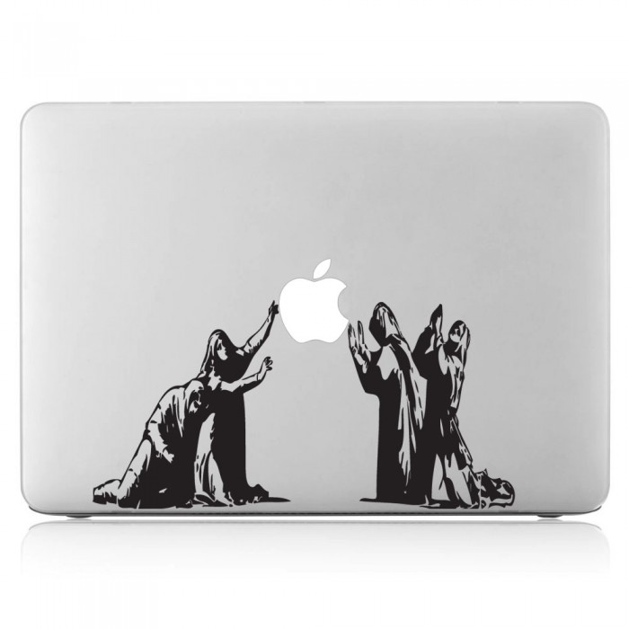 Banksy pray to apple friends laptop macbook vinyl decal sticker