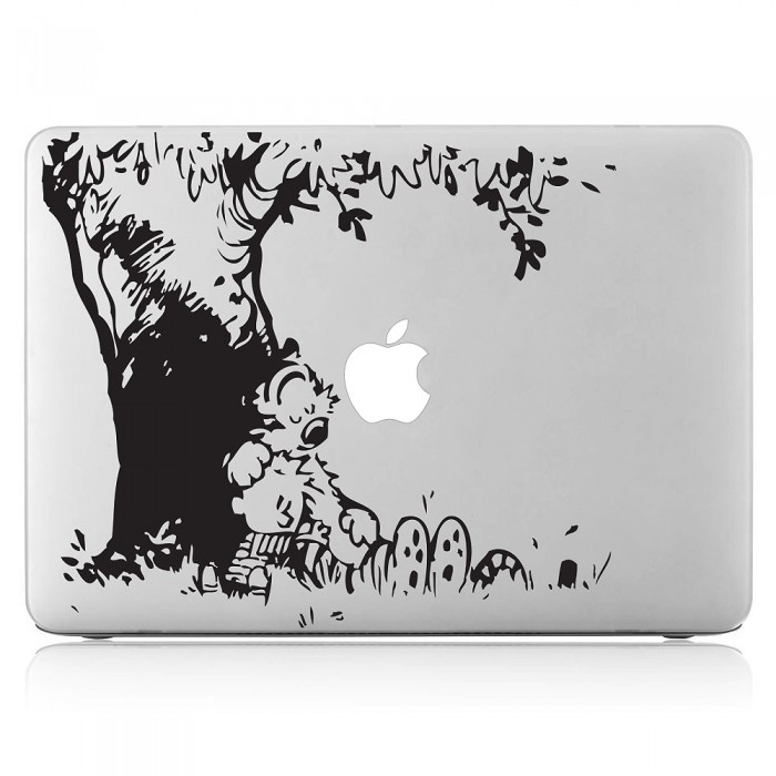Calvin and Hobbes Sleeping Laptop / Macbook Vinyl Decal Sticker (DM-0157)