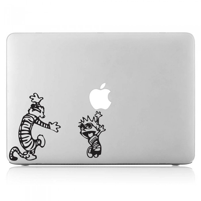 Calvin and hobbes dance laptop macbook vinyl decal sticker