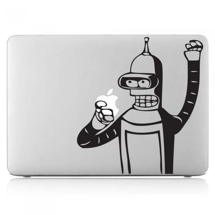 Robot eating Apple Laptop / Macbook Vinyl Decal Sticker (DM-0195)