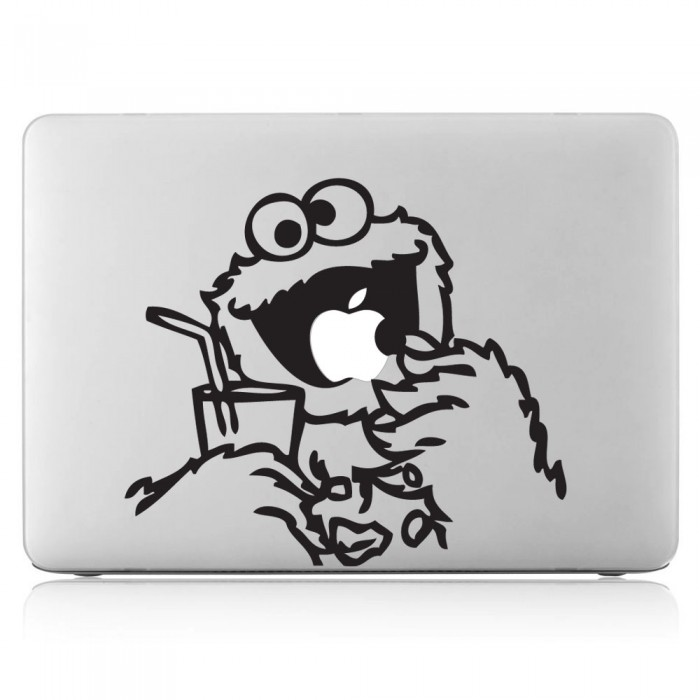 Cookie Monster eating Apple Laptop / Macbook Vinyl Decal Sticker (DM-0202)