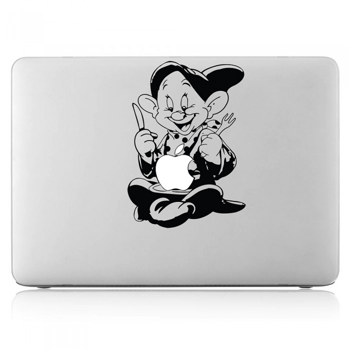 dopey zwerge isst apfel laptop macbook sticker aufkleber. Black Bedroom Furniture Sets. Home Design Ideas