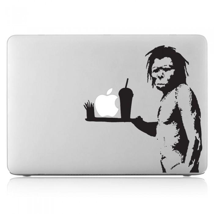 Banksy Caveman serve an Apple Laptop / Macbook Vinyl Decal Sticker (DM-0348)
