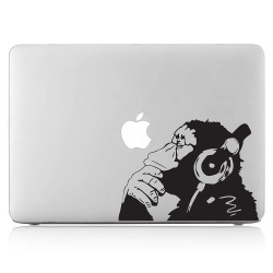 Banksy Monkey With Headphones Laptop / Macbook Vinyl Decal Sticker