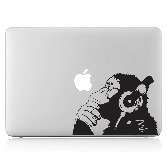 Banksy Monkey With Headphones Laptop / Macbook Vinyl Decal Sticker (DM-0399)