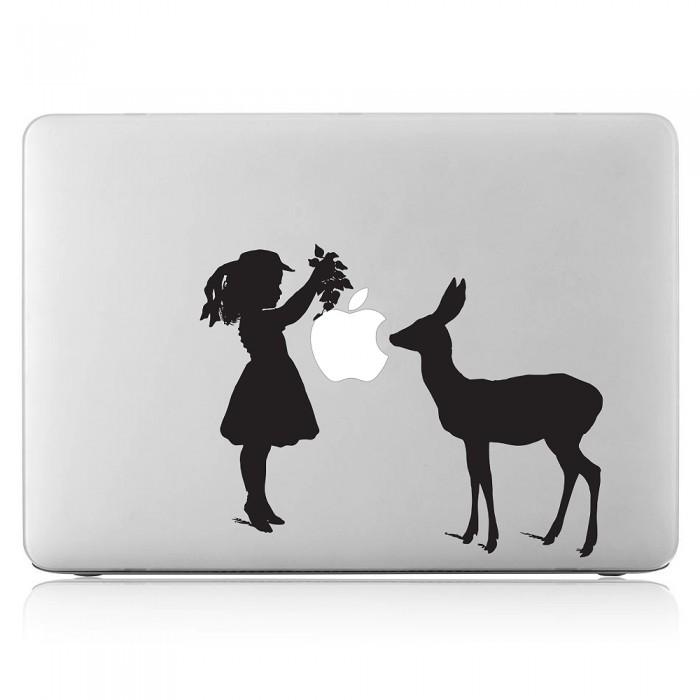 Girl And Deer Laptop / Macbook Vinyl Decal Sticker (DM-0407)