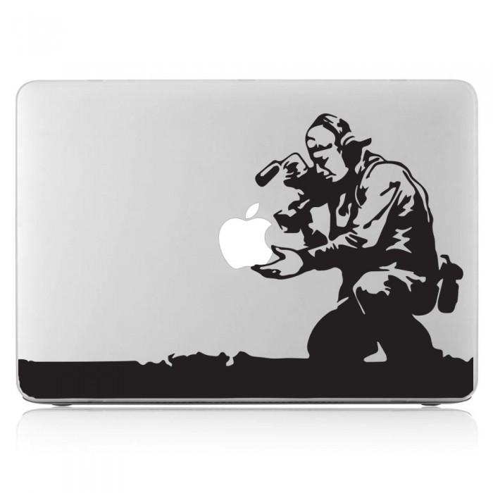 Banksy Cameraman and Apple Laptop / Macbook Vinyl Decal Sticker (DM-0504)