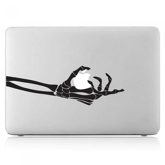 Skeleton Hand Grabs Apple Laptop / Macbook Vinyl Decal Sticker (DM-0525)
