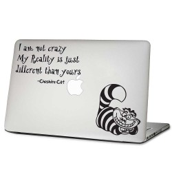 Alice in wonderland Cheshire Cat Quote Laptop / Macbook Vinyl Decal Sticker