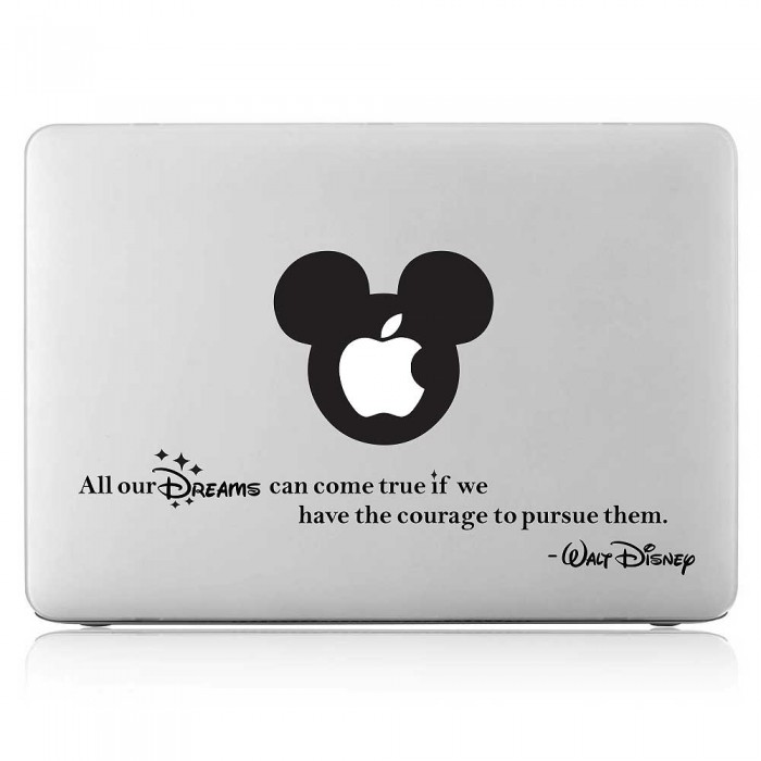 Mickey Mouse Walt Disney Quote Laptop / Macbook Vinyl Decal Sticker (DM-0564)