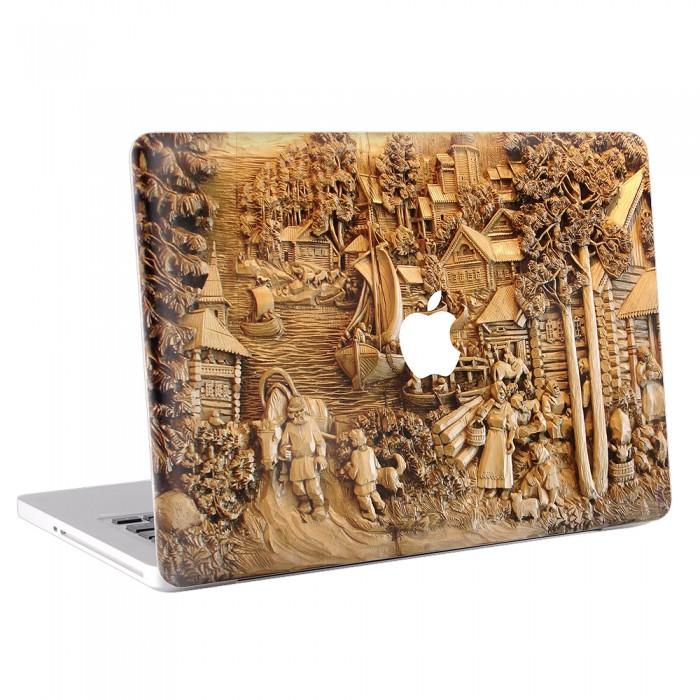 geschnitzt Holz Kunst MacBook Skin Aufkleber