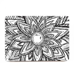 Black and White Abtract Flower Drawing Apple MacBook Skin / Decal