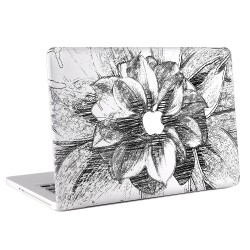 Black and White Flower Hand drawn Apple MacBook Skin / Decal