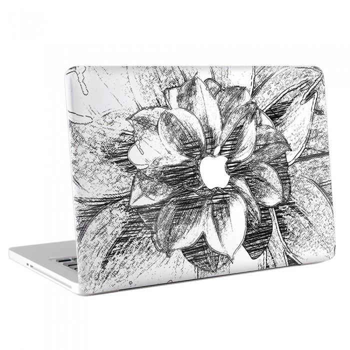 Black and White Flower Hand drawn MacBook Skin / Decal  (KMB-0102B)