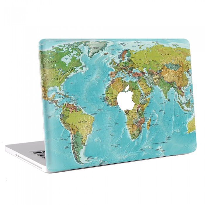 World map macbook skin decal world map apple macbook skin decal gumiabroncs Choice Image