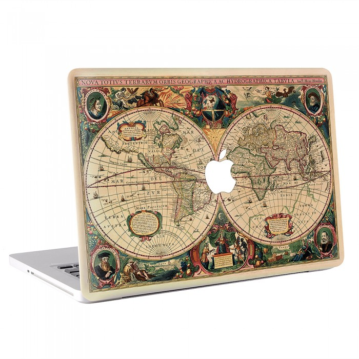 Old map world macbook skin decal old map world apple macbook skin decal gumiabroncs Gallery