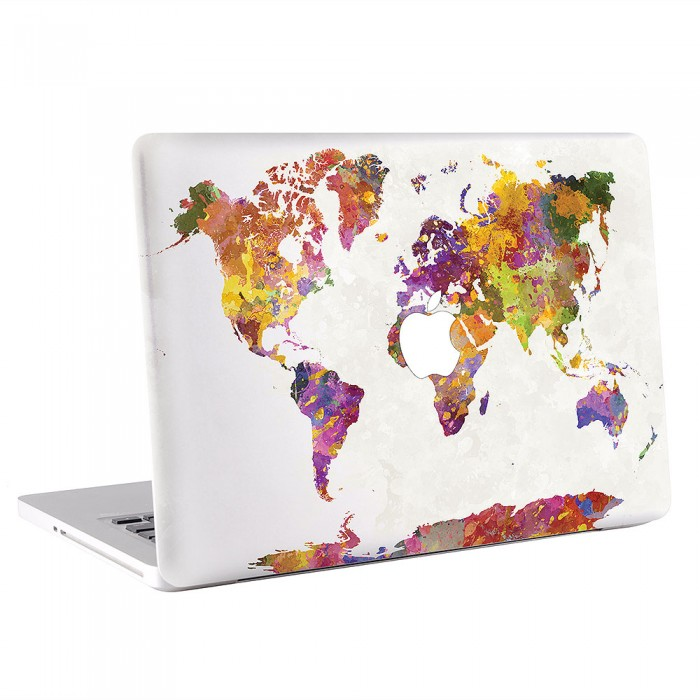 World Map in Watercolor #1 MacBook Skin / Decal  (KMB-0423)