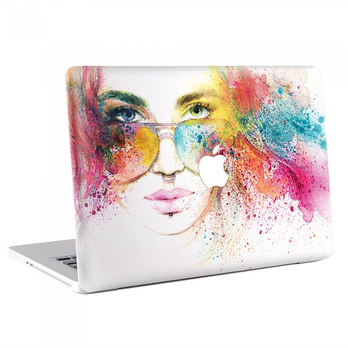Woman Portrait Watercolor MacBook Skin / Decal  (KMB-0424)