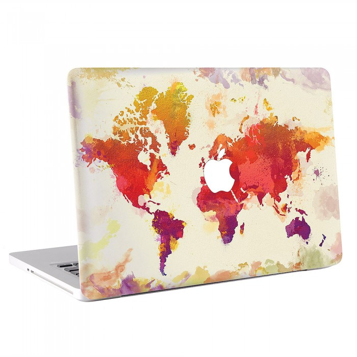 World Map in Watercolor Vintage MacBook Skin / Decal  (KMB-0482)