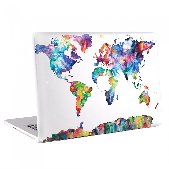 World Map in Watercolor #2 MacBook Skin / Decal  (KMB-0489)