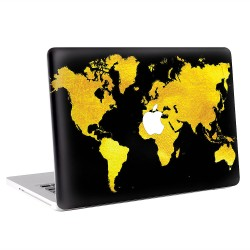 Black and Gold Map of The World  Apple MacBook Skin / Decal