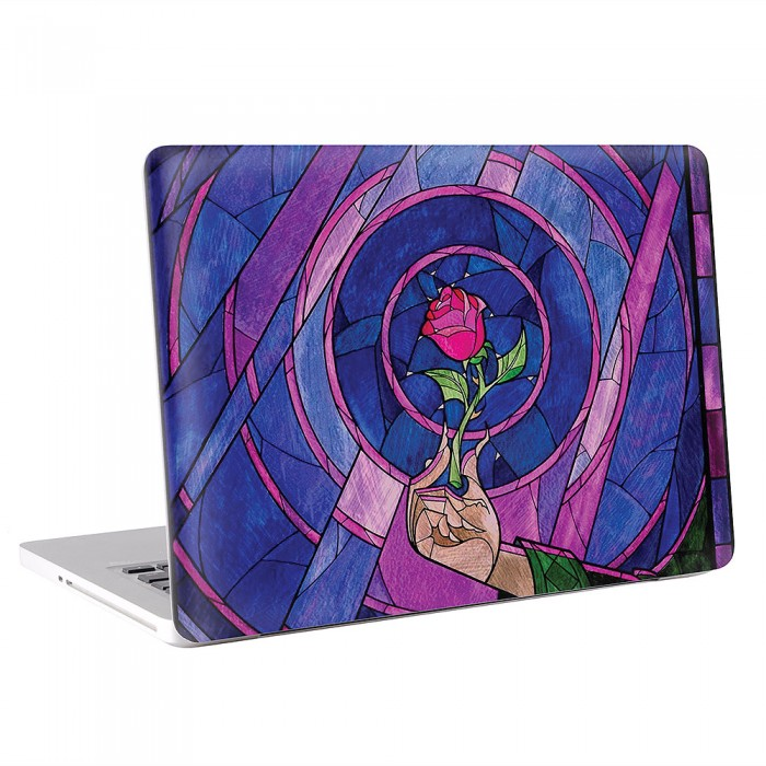 Beauty and The Beast Enchanted Rose Stained Glass  MacBook Skin / Decal  (KMB-0540)