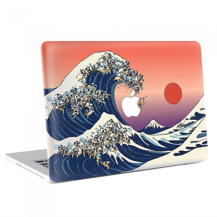 The Great Wave of Pug  MacBook Skin / Decal  (KMB-0560)