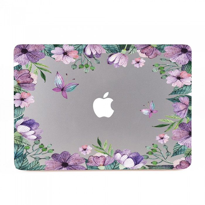 Purple Flowers Vintage  MacBook Skin / Decal  (KMB-0570)