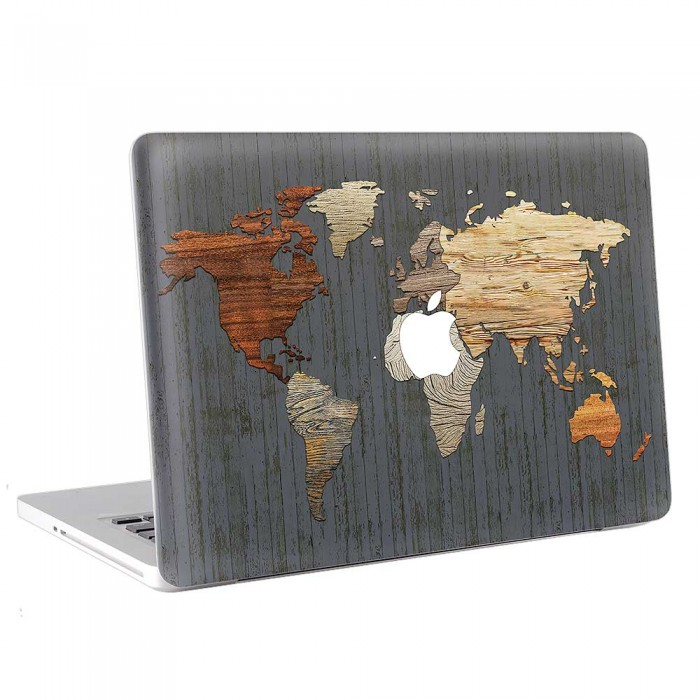 Wooden world map macbook skin decal wooden world map apple macbook skin decal gumiabroncs Gallery