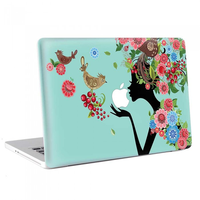 Fairly Flower Girl and Bird in Garden  MacBook Skin / Decal  (KMB-0760)