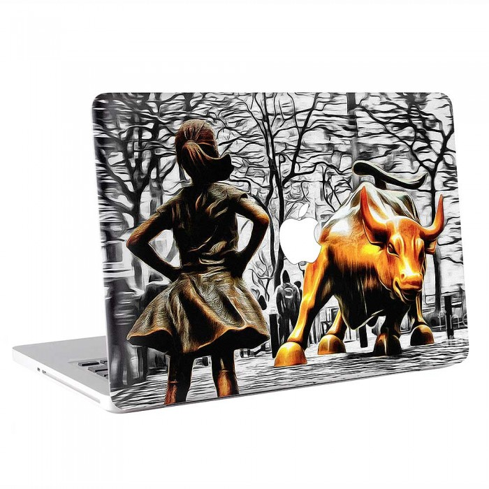 Fearless Girl and Wall Street Bull Statues  MacBook Skin / Decal  (KMB-0901)