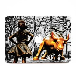 Fearless Girl and Wall Street Bull Statues  Apple MacBook Skin / Decal