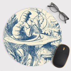 Caterpillar Alice in Wonderland Mouse Pad Round or Rectangle
