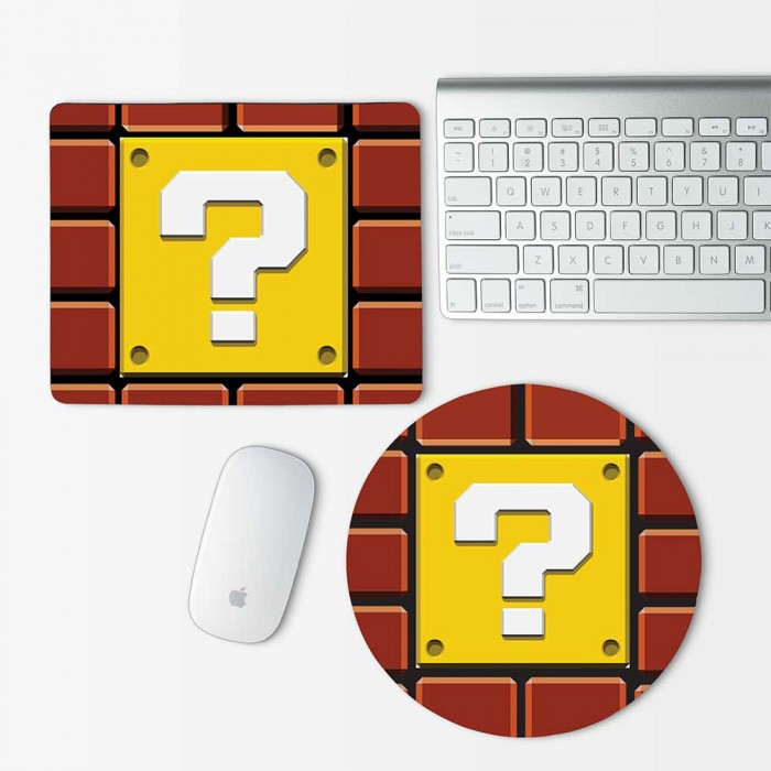 Question Mark Block Super Mario Mouse Pad Round or Rectangle (MP-0017)