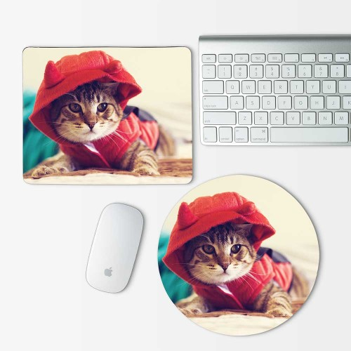 Cute Cat Red Hood Mouse Pad Round or Rectangle
