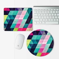 Geometric Multi Color Pattern Mouse Pad Round or Rectangle