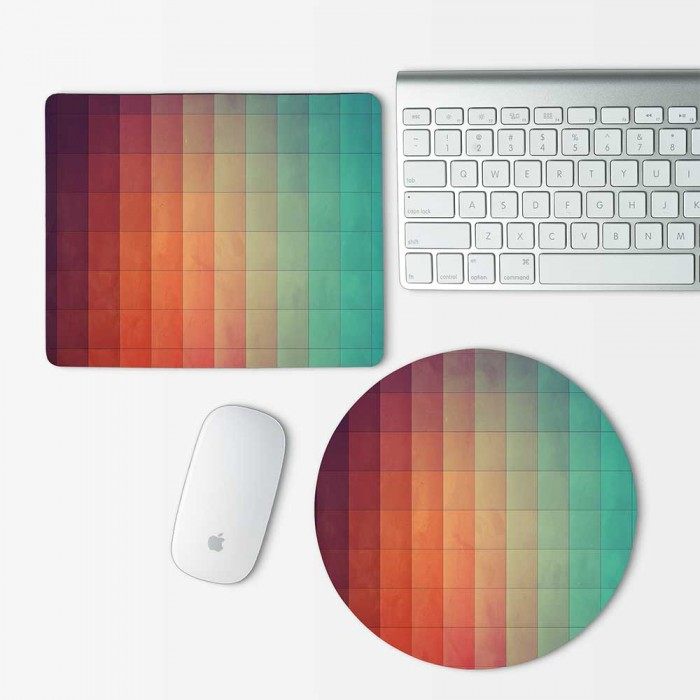 Geometric Pastel Color Pattern Mouse Pad Round or Rectangle (MP-0029)