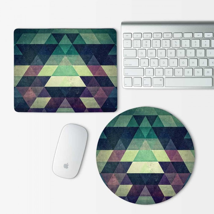 Green Abtract Geometric Pattern Mouse Pad Round or Rectangle (MP-0033)