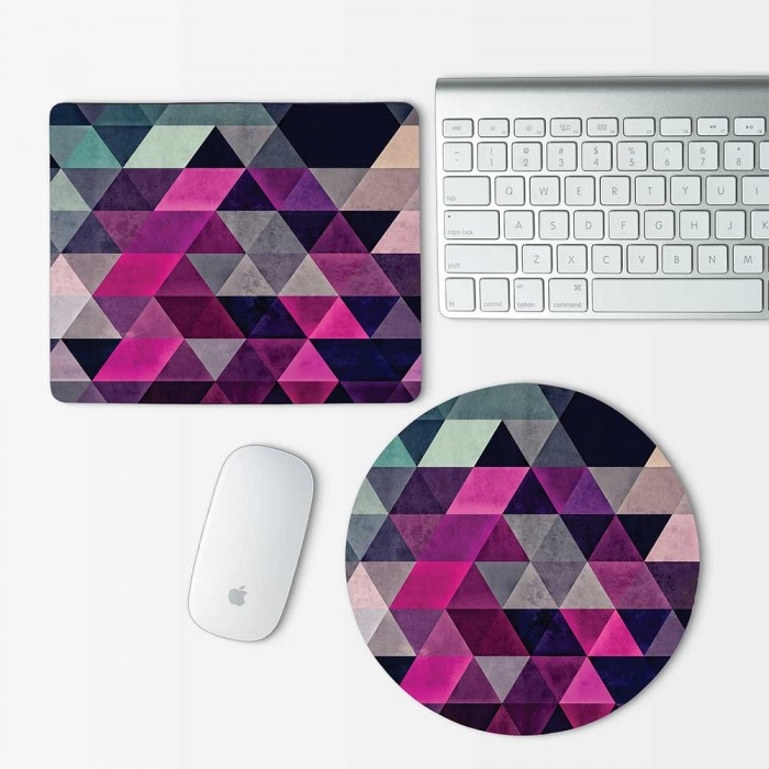 Pink Abtract Geometric Pattern Mouse Pad Round or Rectangle (MP-0041)