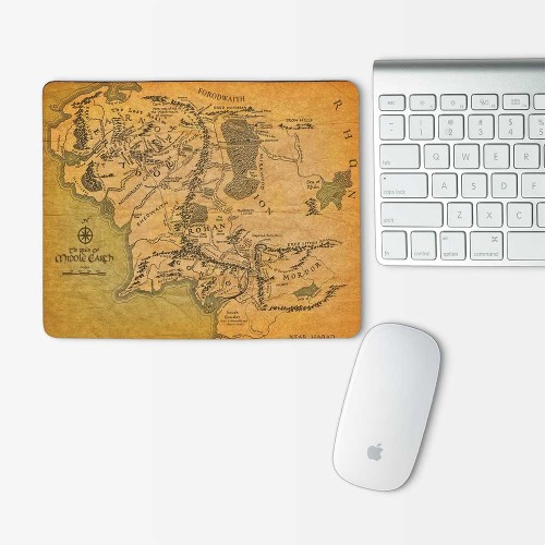 Map of Middle Earth Hobbit Lord of the Rings Mouse Pad Rectangle