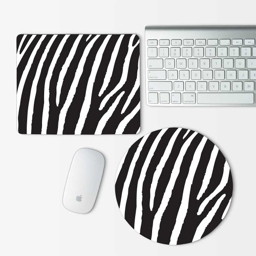 Zebra Animal skin Mouse Pad Round or Rectangle