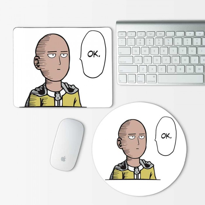 One Punch Man Saitama OK Mouse Pad Round or Rectangle (MP-0083)