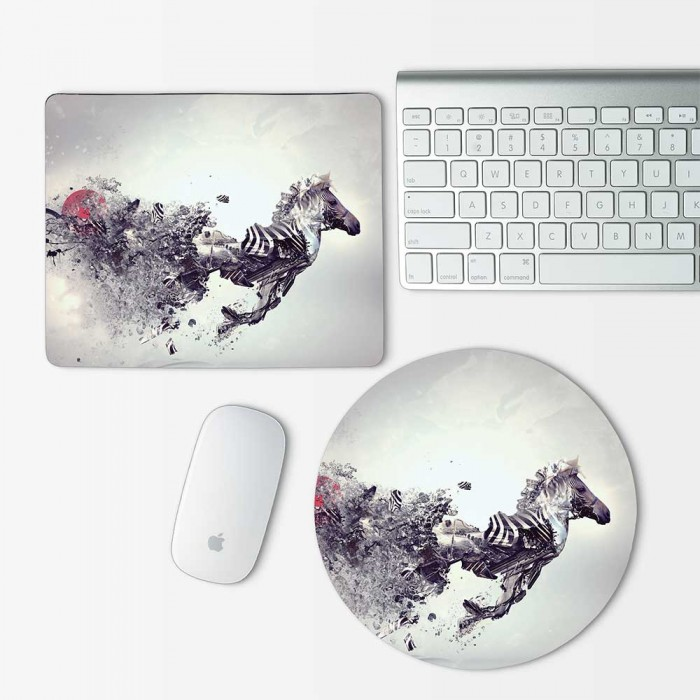 Abstract Zebra Mouse Pad Round or Rectangle (MP-0086)