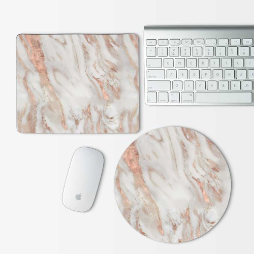 Pink Marble Mouse Pad Round or Rectangle