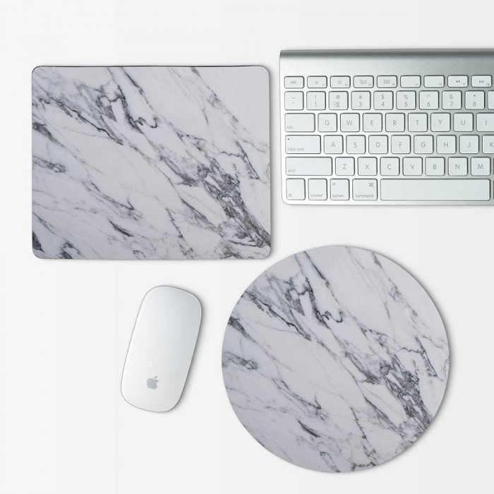White and Black Marble Mouse Pad Round or Rectangle (MP-0088)
