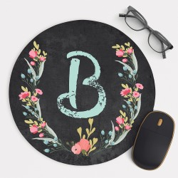 Personalized Monogram and Flowers on Chalkboard Mouse Pad Round or Rectangle