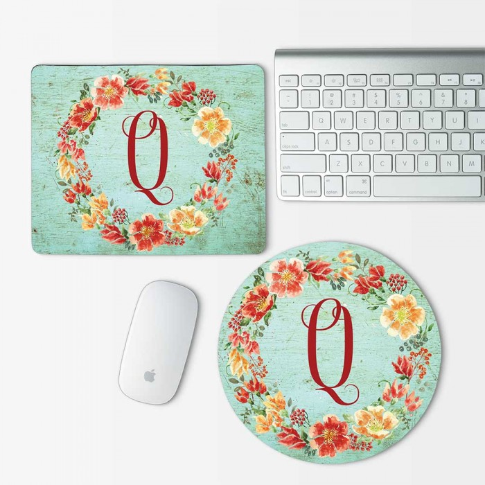 Custom Monogram and Flowers on wood texture  Mouse Pad Round or Rectangle (MP-0104)