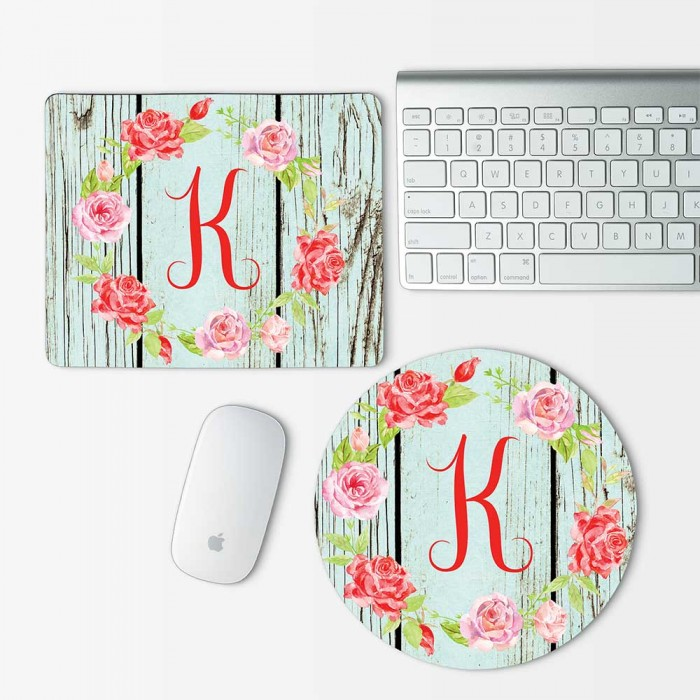 Custom Monogram and Flowers on wood texture  Mouse Pad Round or Rectangle (MP-0105)