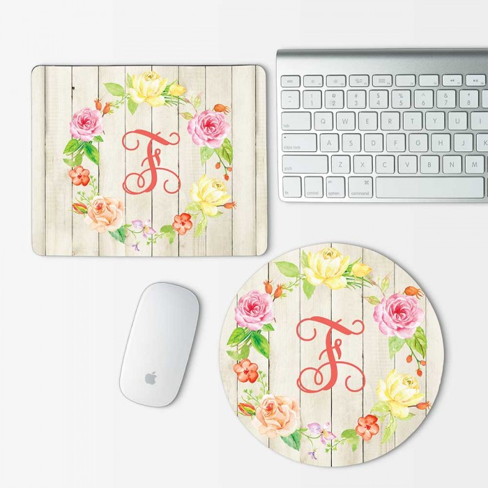Custom Monogram and Flowers on wood texture Mouse Pad Round or Rectangle (MP-0106 )